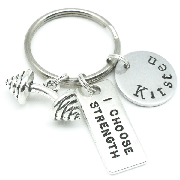 Gym weight gift keyring personalised name strength